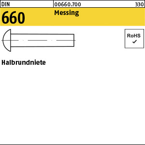 1.006600.1.700 - DIN 660  Halbrundniet, Messing