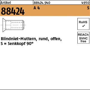 1.884240.0.940 - ART 88424  Blindniet-Mutter rund, offen, Form S, A4