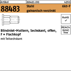 1.884830.0.010 - ART 88483  Blindniet-Mutter sechskant, offen, Form F, Stahl gal Zn