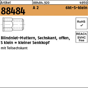 1.884840.0.920 - ART 88484  Blindniet-Mutter sechskant, offen, Form S klein, A2